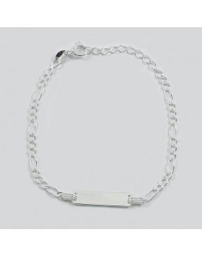Bransoletka srebrna figaro z blaszką BRA46