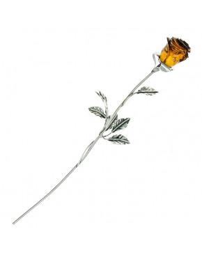 Róża srebrna z brązowym bursztynem RÓŻ1