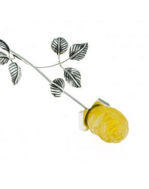 Róża srebrna z żółtym bursztynem RÓŻ2