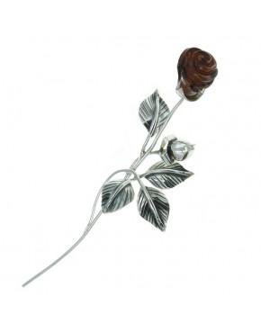 Róża srebrna z brązowym bursztynem RÓŻ3