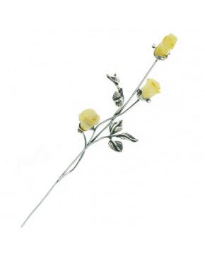 Róża srebrna z żółtym bursztynem RÓŻ4