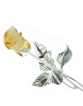 Róża srebrna z żółtym bursztynem ROZ6