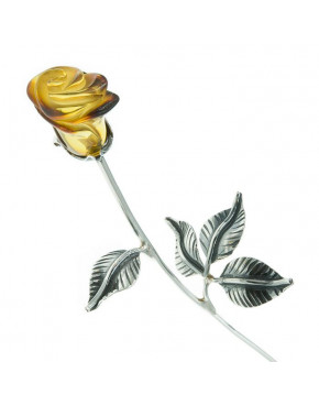 Róża srebrna z brążowym bursztynem RÓŻ7