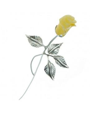 Róża srebrna z żółtym bursztynem RÓŻ8