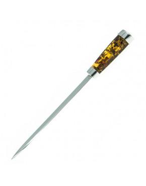 Srebrny nóż do papieru z bursztynem NÓŻ16