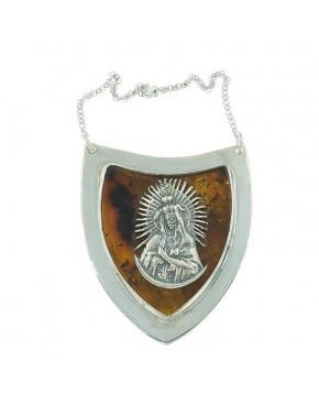 Duży, srebrny ryngraf z bursztynem RYN21