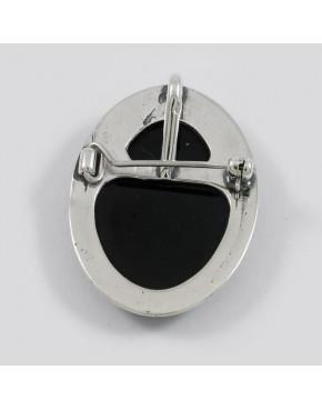 Broszko-wisior srebrny Kamea z onyxem BRO16