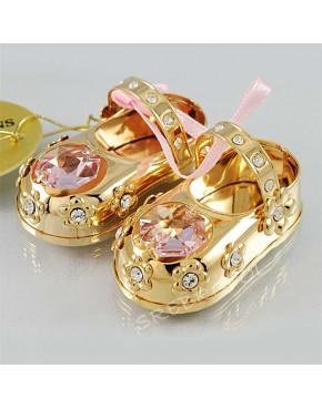 Złota figurka buciki z różowymi kryształkami swarovskiego 122-0040