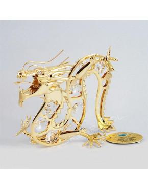 Złota figurka smok z kryształkami swarovskiego 122-0024