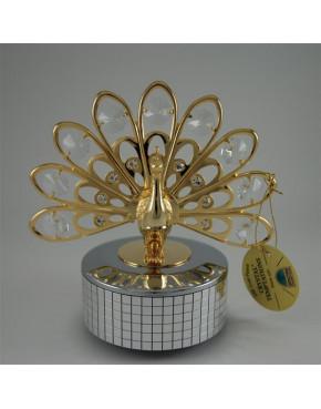 Złota pozytywka paw z kryształkami swarovskiego 122-0082
