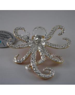 Złota figurka ośmiornica z kryształkami swarovskiego 122-0004