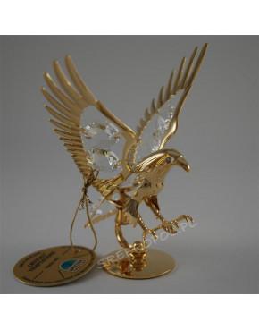 Złota figurka jastrząb z kryształkami swarovskiego 122-0081