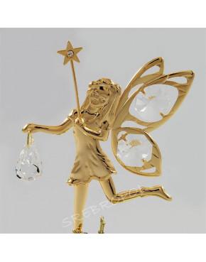 Złota figurka elf z kryształkami swarovskiego 122-0066