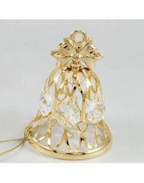 Złota figurka dzwoneczek z kryształkami swarovskiego 122-0100