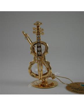 Złota figurka skrzypce z kryształkami swarovskiego 122-0025