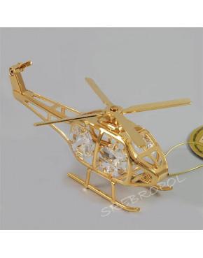 Złota figurka helikopter z kryształkami swarovskiego 122-0078