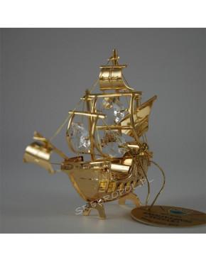 Złota figurka statek z krysztalkami swarovskiego 122-0041