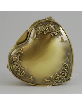 Mosiądzowana szkatułka na biżuterię w kształcie serca 472-4086