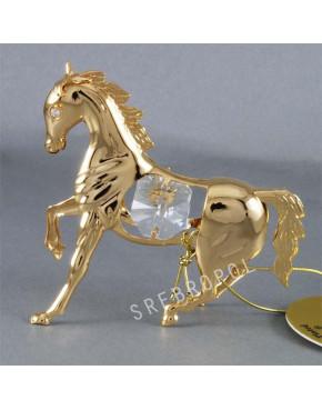 Złota figurka koń z kryształkami swarovskiego 122-0018