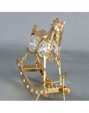 Złota figurka konik na biegunach z kryształkami swarovskiego 122-0020