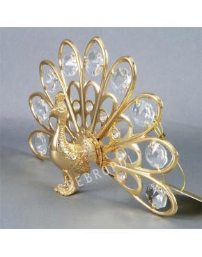 Złota figurka paw z kryształkami swarovskiego 122-0021
