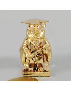 Złota figurka sowa na książce z kryształkami swarovskiego 122-0162