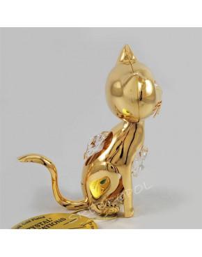 Złota figurka kotek z kryształkami swarovskiego 122-0214