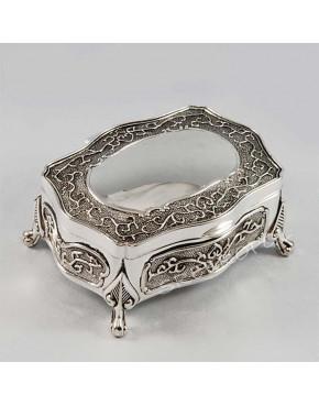 Posrebrzana kasetka, szkatułka na biżuterię 472-4185