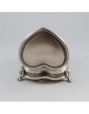 Cynowana szkatułka na biżuterię w kształcie serca 472-4278