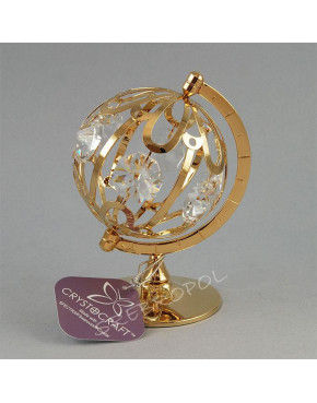 Złota figurka globus z kryształkami swarovskiego 366-0047