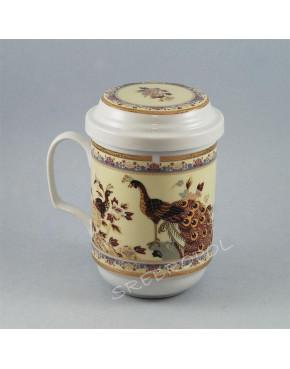 Kubek z zaparzaczem - porcelana japońska Pawie POR130B